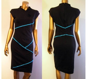 Ultra Modern Minimalist Black Jersey Slim Dress with Neon Blue Trim  XS
