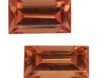 Orange Sapphire Loose Gemstones Set of 2 Baguette Cut 1A Quality 4x2mm TGW 0.30 cts.