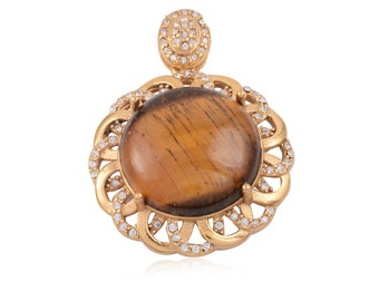 South African Tigers Eye 23mm Round Pendant Austrian Crystal Pendant Without Chain Plated YG and Stainless Steel TGW 5.00 cts.