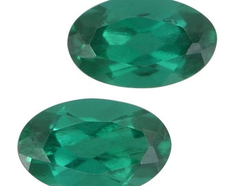 Emerald Synthetic Lab Created Loose Gemstone Set of 2 Oval Cut 1A Quality 5x3mm TGW 0.35 cts.