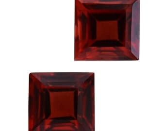 Mozambique Red Garnet Set of 2 Loose Gemstones Square Cut 1A Quality 4mm TGW 0.75 cts.