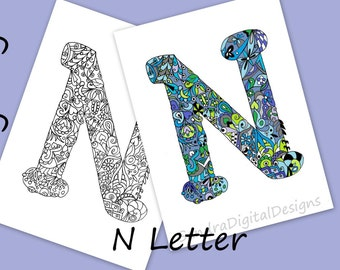 letter n colouring page zentangle art inspired adults coloring page coloring alphabet letters