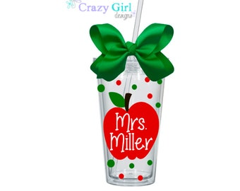 Personalized Teacher Tumbler 16 oz. Acrylic Cup BPA Free Custom