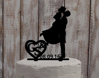 wedding cake topper kiss - wedding / cake / topper / personalized / acrylic / wood / individualized / bridel couple / initials / heart