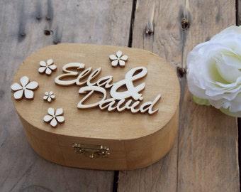 "Ring Bearer Box ""Names"" / Wedding / Ring Box / Wedding Box / Vintage / Ring Holder / Rustic / Wood"