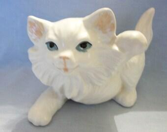 White Ceramic Cat Figurine