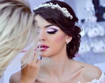 Pearl Bridal Headband, Elegant Bridal Hairpiece, Rhinestone Bridal Hair Accessory