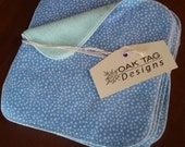 5 x Cloth Wipes - perfect for baby - nappy change or bath time - MCN - flannelette and microfleece - blue spots on white with green