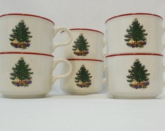 Cuthbertson Christmas Tree Cups, Made in England, Set of 6, Red Rim, Christmas Presents, Holiday Decor, Table Settings, Replacement China