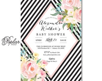 baby shower invitation black and white horizontal by