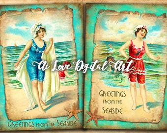 Instant download card making, vintage Greeting from the Seaside, digital collage sheet, printable images, vintage postcards, greeting cards