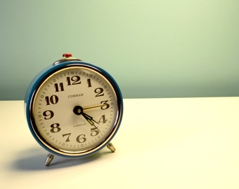 Vintage Alarm Clock - Corsar - sky blue - '80 - Made in U.R.S.S.