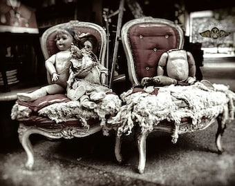 Dolls at the Paris Flea Market, Friends in Chairs