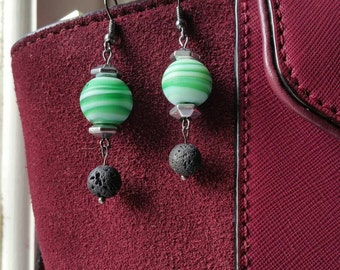 Lava and clay drop earrings