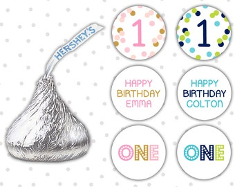 Hershey kiss stickers (108) - First Birthday favors - Hershey kiss labels - Pink and gold Birthday (HK004)