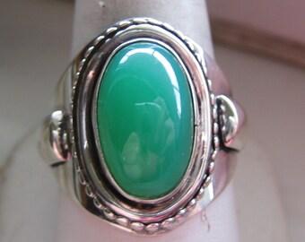 Sterling Silver & Chrysoprase Ring