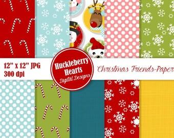 Christmas Paper, Digital Christmas Paper, Christmas Faces, Christmas Scrapbook Paper