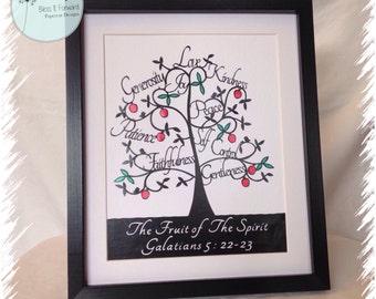 The Fruit of the Spirit Galatians 5 : 22 - 23  Handcut Papercut design - Christian Decor | baptism gift | Christian faith gift