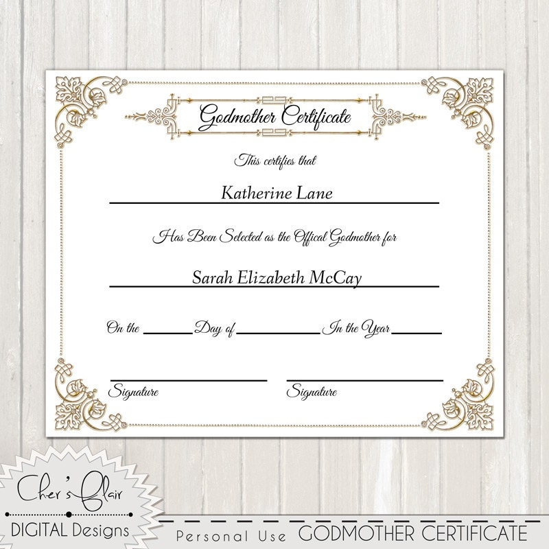 Godmother certificate official godfmother certificate 8 x 10 this is a digital file yadclub Gallery