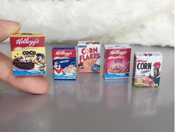 Miniature Cereal Box 5 pcs.,Miniature Cereal,Miniature Corn Flakes Box,Miniature breakfast,Doll's house,Miniature Cereal Jewelry,Cereal,DIY