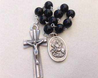 St George Pocket Rosary, Tenner rosary,  Confirmation Gift, First Communion gift, Boys rosary, Catholic gift, Godson gift