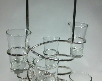Silver Plated Liquor Shot Glass Caddy