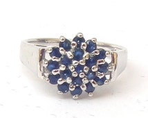 ON SALE Vintage Sapphire Cocktail Ring, 925 Sterling Silver Size 6.25. Sapphire Cluster Ring. Gemstone, Vintage Blue Sapphire Ring, Womens R