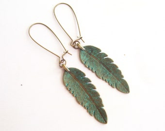 Verdigris Feather Earrings, Choice of Style, Antiqued Brass Feather Earrings, Patina Feather, Boho Earrings, Fall Jewelry, Teal Feather
