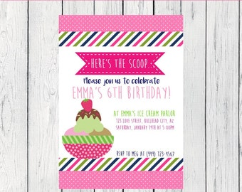 Ice Cream or Frozen Yogurt Party:  Personalized birthday invitation- ***Digital File*** (Ice crm-Lime)