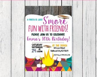S'mores Birthday invitation ***Digital File*** (Smores-GEO)