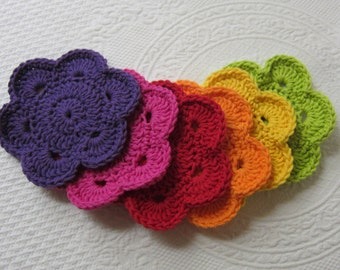 Flower Coasters,Crochet Coasters,Coasters,Set of Six,Colorfull Coasters,Floweres,Home Decor,Kitchen Accessory,Kitchen Decor,Retro,Housewares