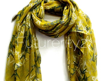 Bamboo Olive Green Scarf / Spring Summer Scarf / Autumn Scarf / Women Scarves / Gifts For Her / Accessories / Handmade