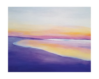 Printable Abstract Seascape, ocean sunset, colorful abstract painting