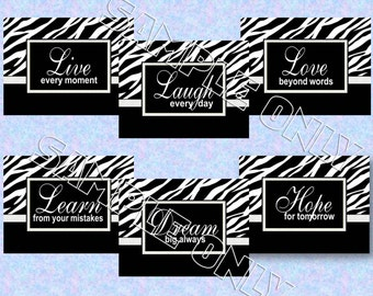 Zebra 5x7 Prints Live Laugh Love Learn Dream Hope Inspirational Quotes - Set of 6