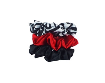 Satin Scrunchies set of 3 - Zebra, Red and Black - Hair Accessories