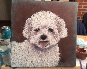 "Custom Pet Portrait - 16""x 16"" Acrylic on Board"