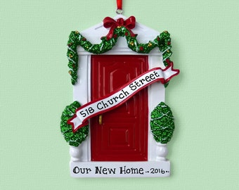 Red Door - New Home - First Apartment Personalized Ornament - Hand Personalized Christmas Ornament
