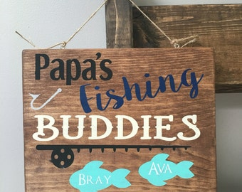 Papa's Fishing Buddies sign, wall hanging, 8x10, handpainted wooden sign, gift for dad, gift for grandpa, gift from kids, Father's Day gift