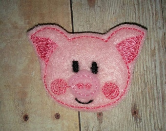 Set of 4 Pig Piggy Feltie Felt Embellishment Bow! Farm Animal Birthday Party Bow Embellishment!!