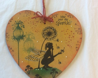 Fairy tale - magical fairy mdf heart