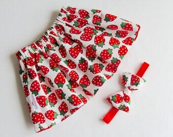 Strawberry Skirt, Children's Skirt, Cotton Skirt, Baby Skirt, Toddler Skirt, Girl's Skirt Set