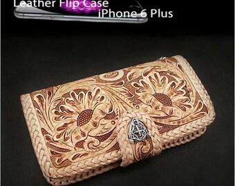 Leather iPhone 6 Plus Flip Case Metal Concho K01C97