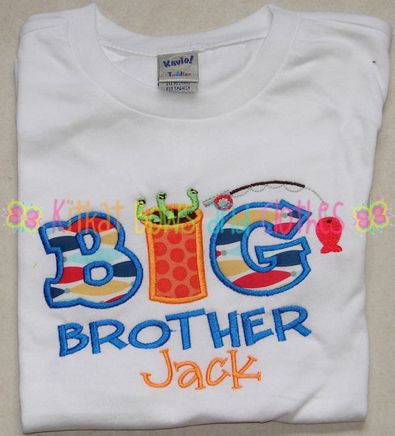 Big brother fishing embroidered shirt birth announcement