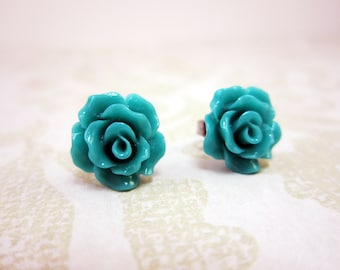 Turquoise Rose Stud Earrings, surgical steel studs, turquoise studs, rose stud earrings, homemade jewelry, surgical steel earrings, flower