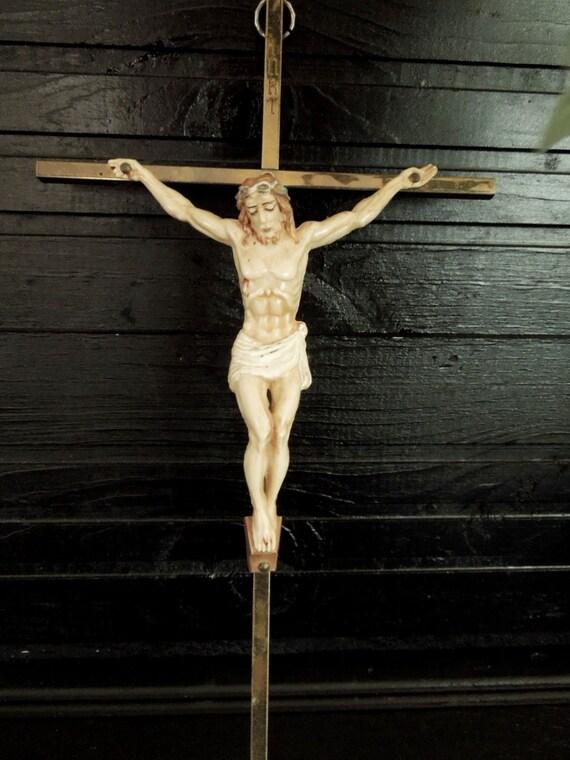 Gold Cross Wall Decor : Metal crucifix wall hanging cross vintage christian