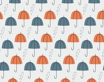 Umbrella Rain in Orange, Spring Walk Collection by Little Cube for Cloud 9 Organic Fabrics 1119