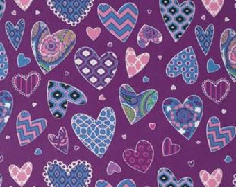 Hearts in Purple, Haute Girls Collection by Dena Designs for Free Spirit 4165