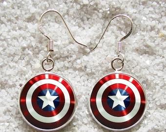 SALE 3 days 20% Resin EARRINGS - 925 Sterling Silver Hooks -((( Captain America )))- INCREDIBLE Price