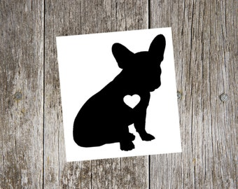 french bulldog v1 with heart cutout, frenchie decal, frenchie sticker, love french bulldogs, frenchie car window sticker, frenchie car decal