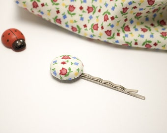 "Hair pin | Cotton fermacapellli hair clip with button ""FLOWER"""